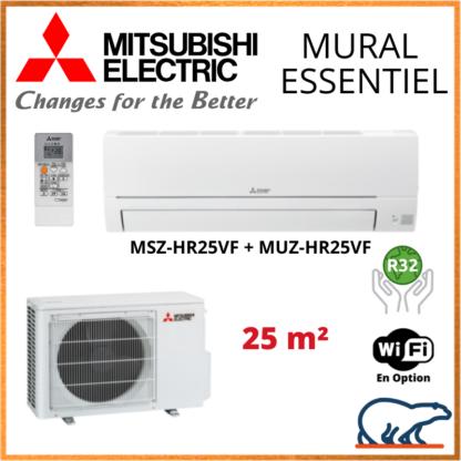 Climatiseur Mural MITSUBISHI Essentiel 2,5 kW – MSZ-HR25VF + MUZ-HR25VF