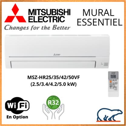 Mitsubishi Mural Inverter – Essentiel MSZ-HR – R32 – MSZ-HR25VF / MSZ-HR35VF / MSZ-HR42VF / MSZ-HR50VF