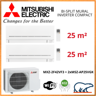 Mitsubishi Electric Multi-Split Standard – Bi-Splits – R32 – MXZ-2F42VF3 + MSZ-AP25VGK + MSZ-AP25VGK + WIFI 4.2 KW