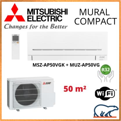 Climatiseur mural MITSUBISHI Compact 5 kW – MSZ-AP50VGK + MUZ-AP50VG