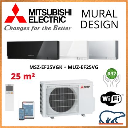 Climatiseur Mural MITSUBISHI Design 2,5 kW – MSZ-EF25VGK + MUZ-EF25VG