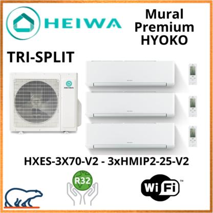 TRISPLIT HEIWA Premium HYOKO  3xHMIP-25-V2 + HXES-3X70-V2 7kW