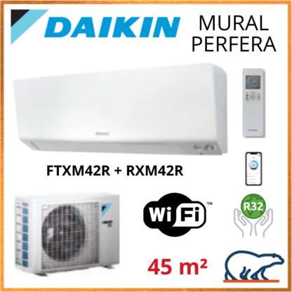 Daikin Climatisation Mural Réversible – PERFERA BLUEVOLUTION – R32 – FTXM42R + RXM42R + WIFI 4.2KW