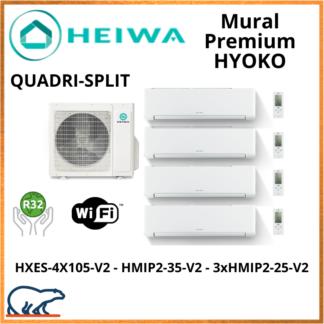 QUADRISPLIT HEIWA Premium HYOKO  3xHMIP-25-V2 + HMIP-35-V2 + HXES-4X105-V2 10kW