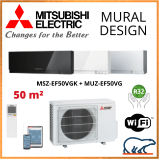Climatisation Murale MITSUBISHI Design 5 kW – MSZ-EF50VGK + MUZ-EF50VG