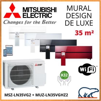 Climatiseur Mural MITSUBISHI Design de Luxe 3,5 kW – MSZ-LN35VG2 + MUZ-LN35VGHZ2