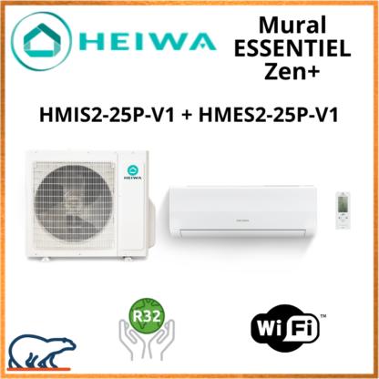Monosplit ESSENTIEL Zen + HEIWA HMIS2-25-V1 + HMES-25P-V1 2.5kW