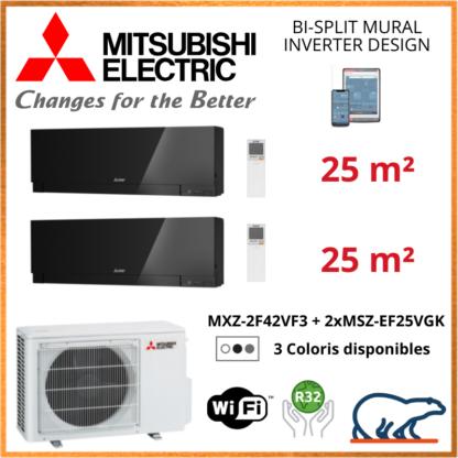 Mitsubishi Electric Multi-Split Design – Bi-Splits – R32 – MXZ-2F42VF3 + MSZ-EF25VGK + MSZ-EF25VGK + WIFI 4.2 KW
