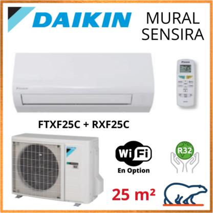 Daikin Climatisation Inverter Réversible – SENSIRA BLUEVOLUTION – R32 – FTXF25C + RXF25C 2.5 KW