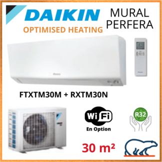 Daikin Climatisation – PERFERA OPTIMISED HEATING BLUEVOLUTION – R32 – FTXTM30M + RXTM30N 3KW