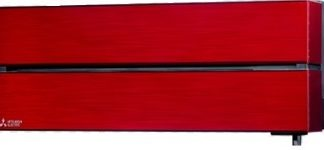 Climatiseur mural MITSUBISHI design de luxe rouge rubis 3,5 kW