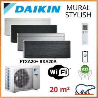Daikin Climatisation Inverter Réversible – STYLISH Bluevolution – R32 – FTXA20AW/BS/BB/BT + RXA20A + WIFI 2.0 KW