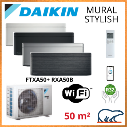 Daikin Climatisation Inverter Réversible – STYLISH Bluevolution – R32 – FTXA50AW/BS/BB/BT + RXA50B + WIFI 5.0 KW