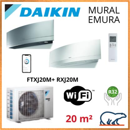 Daikin Climatisation – Design EMURA Bluevolution – R32 – FTXJ20MW/S + RXJ20M + WIFI 2.3 KW