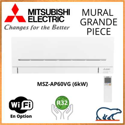 Mitsubishi Unités Intérieures Murale – GRANDES PIÈCES – R32 – MSZ-AP60VG