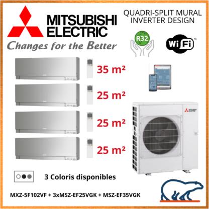 Mitsubishi Quadri-split Mural Inverter Design MXZ-5F102VF + 3 x MSZ-EF25VGK + 1 x MSZ-EF35VGK