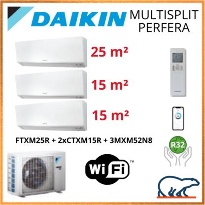 Daikin Tri-Split – PERFERA Bluevolution – R32 – 3MXM52N8 + 2 X CTXM15R + FTXM25R + WIFI 5.2 KW