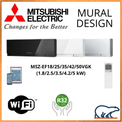 Mitsubishi Unités Intérieures – DESIGN WIFI – R410A / R32 – MSZ-EF18VGK / MSZ-EF25VGK / MSZ-EF35VGK / MSZ-EF42VGK / MSZ-EF50VGK