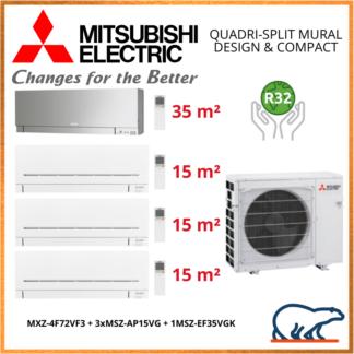Mitsubishi Electric – Quadri-Splits Mural Inverter – R32 – MXZ-4VF72VF3 + 3 x MSZ-AP15VG + 1 x MSZ-EF35VGK 7.2kW