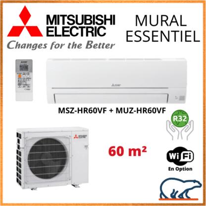 Climatiseur Mural MITSUBISHI Essentiel 6 kW – MSZ-HR60VF + MUZ-HR60VF