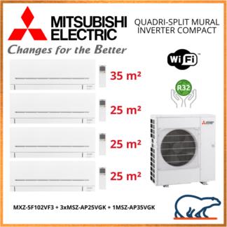 Mitsubishi Electric Standard – Quadri-Splits Mural Inverter – R32 – MXZ-5F102VF + 3 x MSZ-AP25VGK + 1 x MSZ-AP35VGK+ WIFI 10 KW
