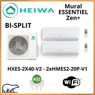 BISPLIT HEIWA ZEN+  2x(HMES2-20P-V1) +  HXES-2X40-V2 4kW