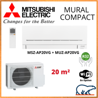 Climatiseur Mural MITSUBISHI Compact 2 kW – MSZ-AP20VG + MUZ-AP20VG