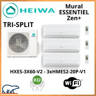 TRISPLIT HEIWA ZEN+  3xHMES2-20P-V1 +  HXES-3X60-V2 6kW