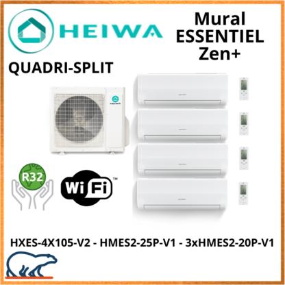 QUADRISPLIT HEIWA ZEN+  3xHMES2-20P-V1 + HMES2-25P-V1 + HXES-4X105-V2 10kW