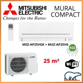 Climatiseur Mural MITSUBISHI Compact 2,5 kW – MSZ-AP25VGK + MUZ-AP25VG