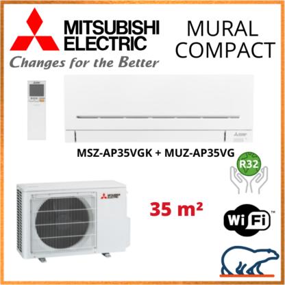 Climatisation Murale MITSUBISHI Compact 3,5 kW – MSZ-AP35VGK + MUZ-AP35VG