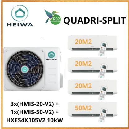 QUADRISPLIT HEIWA ZEN 3x(HMIS-20-V2) + 1x(HMIS-50-V2) + HXES4X105V2 10kW