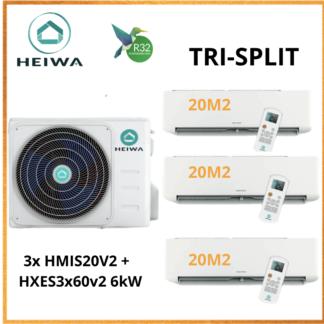 TRI-SPLIT HEIWA ZEN  3x HMIS-20-V2 + HXES-3X60-V2 6kW