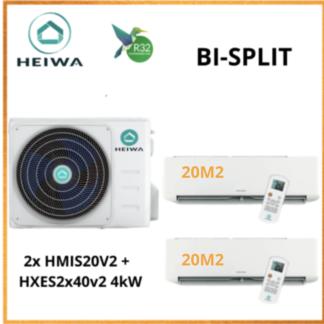 BI-SPLIT HEIWA ZEN  2x HMIS-20-V2 +  HXES-2×40-V2 4kW
