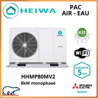PAC Air-Eau Monobloc Heiwa Premium Hyoko 8kW HHMP80MV2