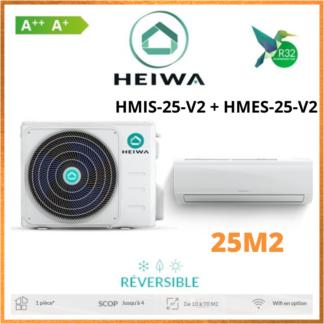 Climatiseur Monosplit ESSENTIAL HEIWA Zen HMIS-25-V2 + HMES-25-V2 2,5kW