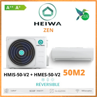 Climatisation Monosplit ESSENTIAL HEIWA Zen HMIS-50-V2 + HMES-50-V2 5 kW
