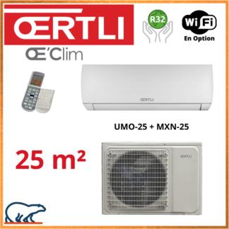 OERTLI Monosplit EMMO – Full Inverter – R32- UMO-25 + MXN-25 2.5kW