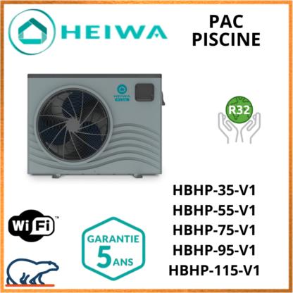 Pompe à chaleur Piscine Heiwa Blue Inverter HBHP35V1 / HBHP55V1 / HBHP75V1 / HBHP95V1 / HBHP115V1
