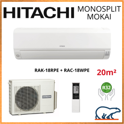 Monosplit HITACHI MOKAI 1.8kW RAK-18RPE + RAC-18WPE