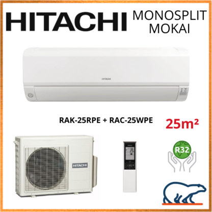Monosplit HITACHI MOKAI 2.5kW RAK-25RPE + RAC-25WPE