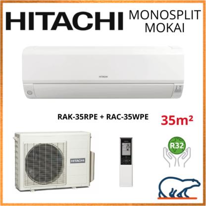 Monosplit HITACHI MOKAI 3.5kW RAK-35RPE + RAC-35WPE